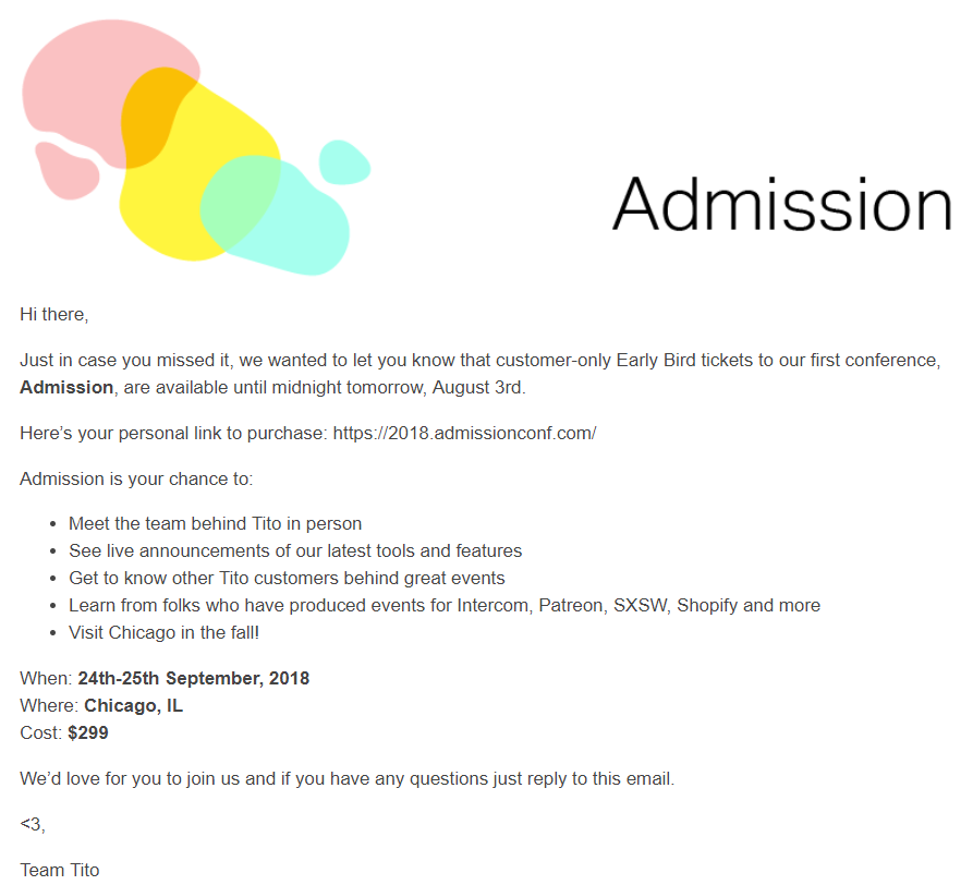 Admission Email 1