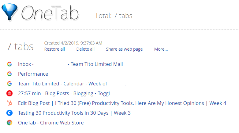 Productivity tools One Tab for Chrome
