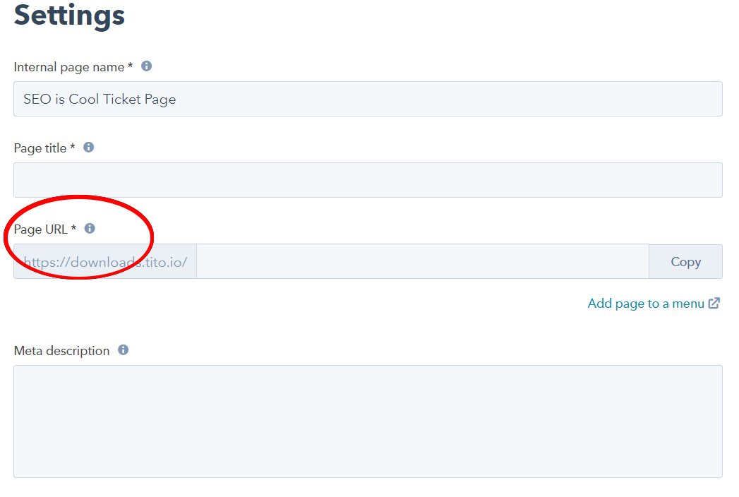 Page URL in Hubspot