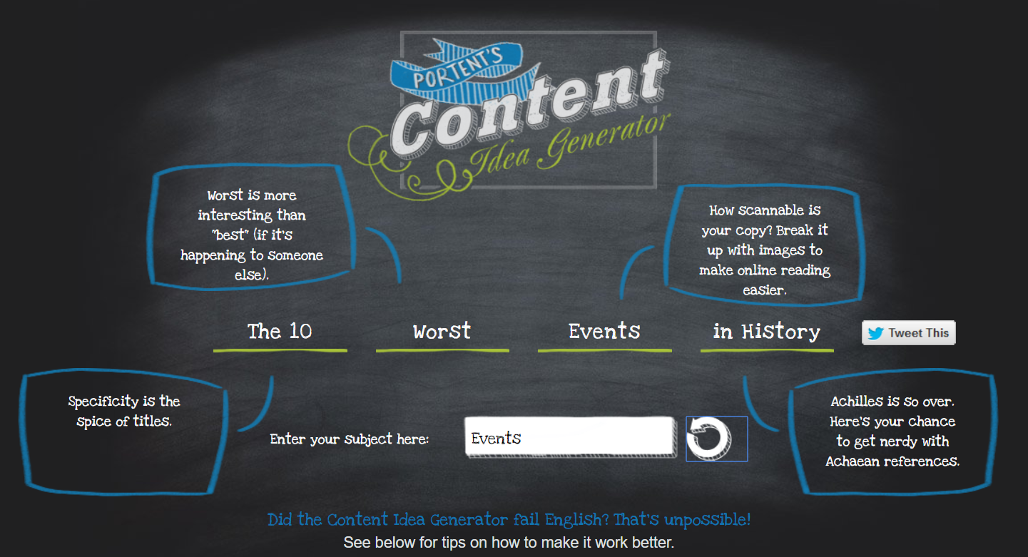 Productivity tools Portent Content Idea Generator 2