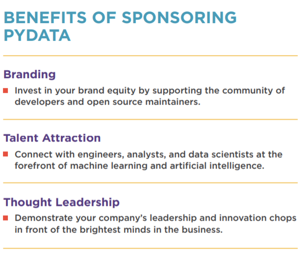 PyData benefits of sponsorship