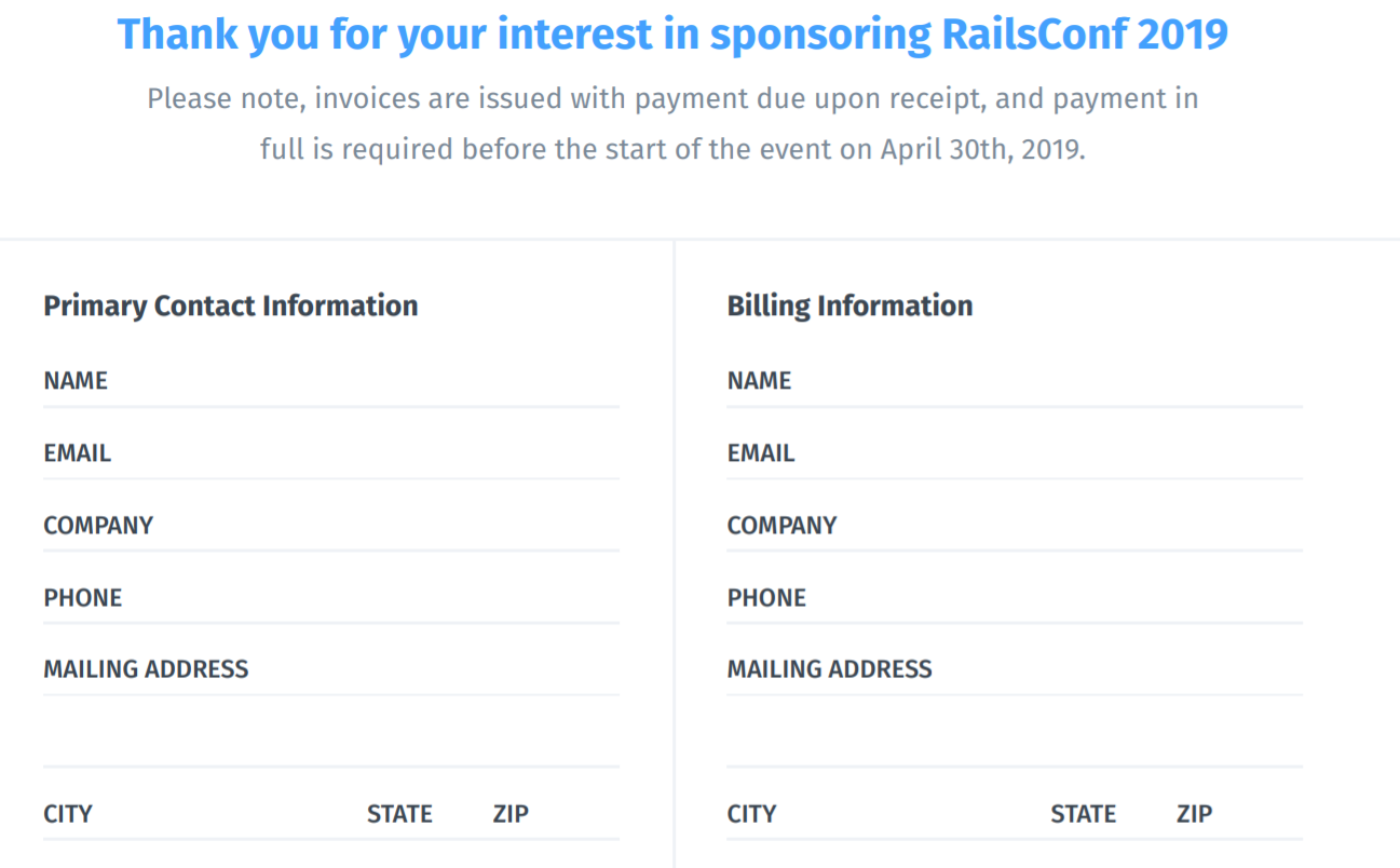 RailsConf 2019 Submission form