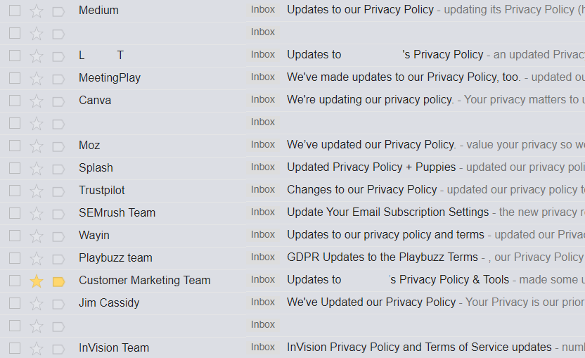privacy policy update emails
