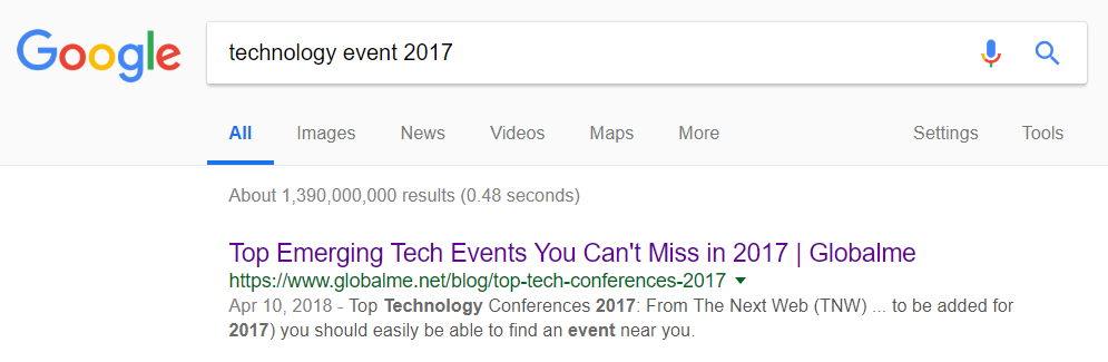 technology event 2017 first result