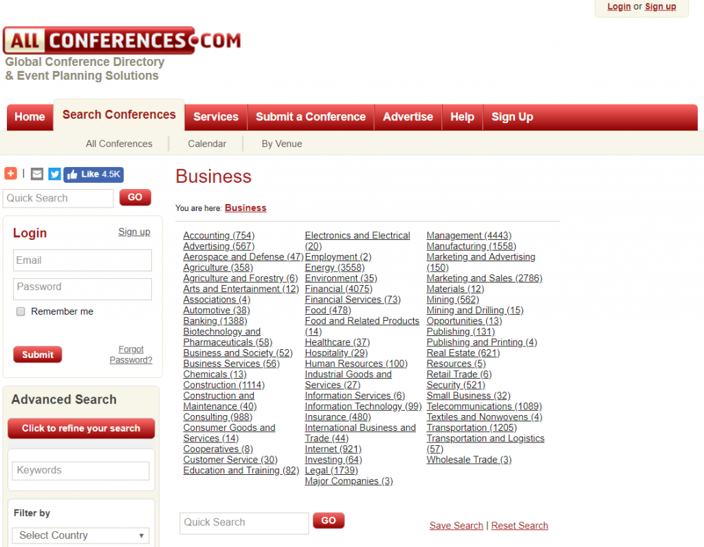 Event Listing Sites all types of conference