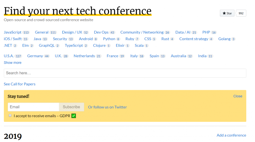 Event Listing Sites tech conferences