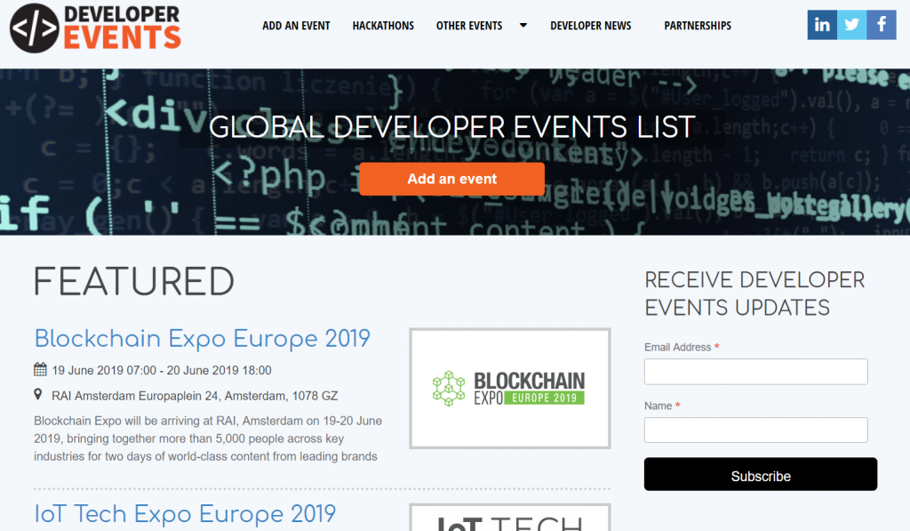 Event Listing Sites Developers