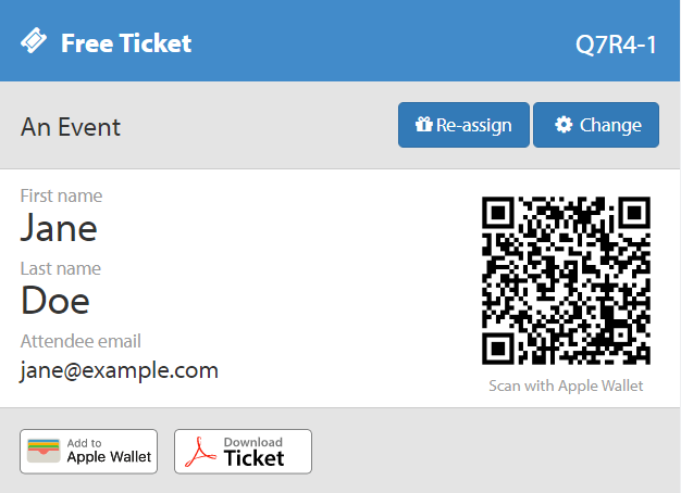 Example Ticket Export QR Codes
