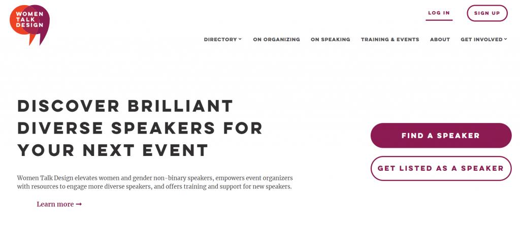 Conference guest speakers website Women Talk Design