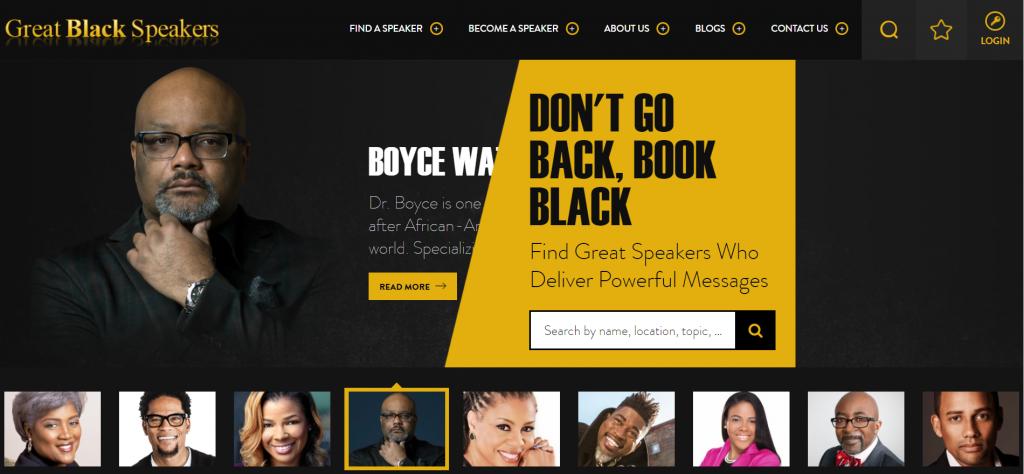 Conference guest speaker website Great Black Speakers