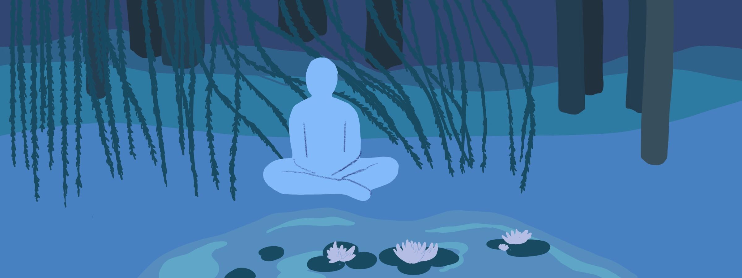 Designing With Empathy: A figure sits meditating in the woods by a pond