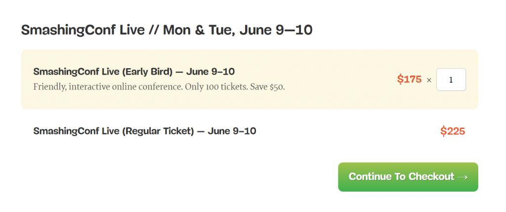 SmashingConf Live Early Bird and Regular Ticket module