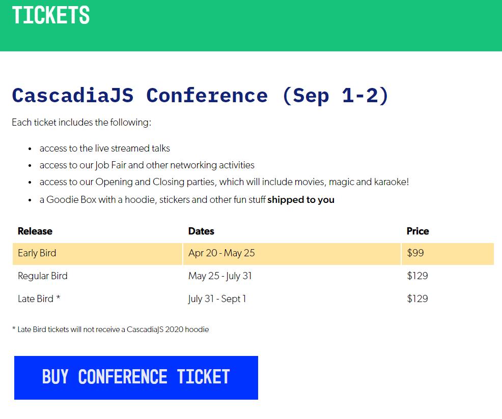 CascadiaJS virtual event pricing
