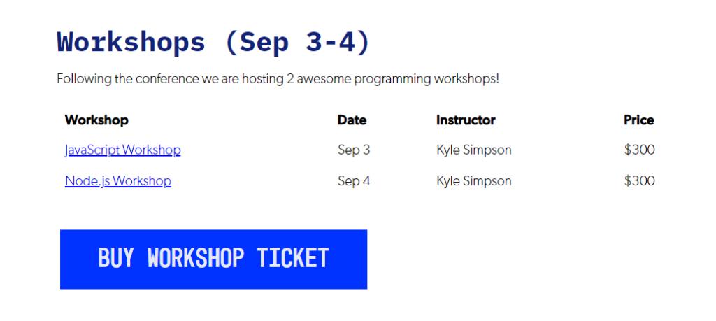 CascadiaJS Workshop pricing