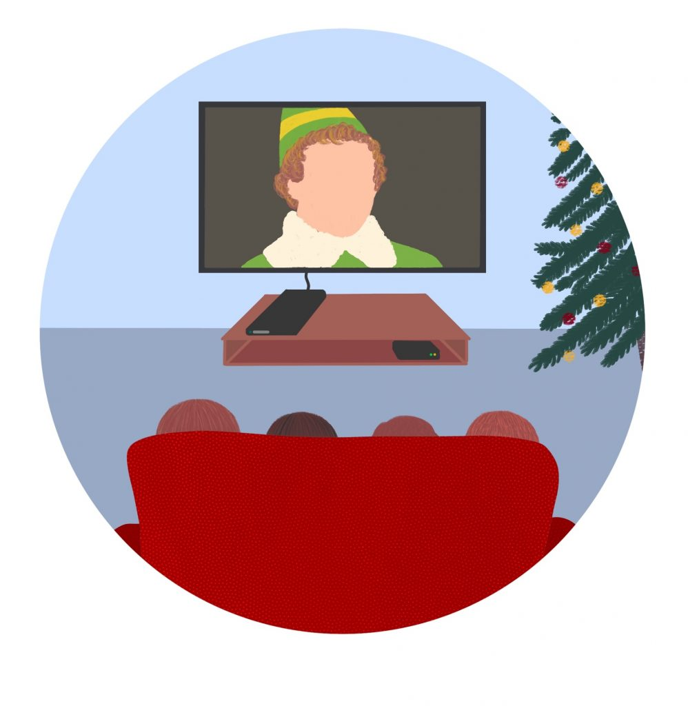 Illustration of the back of a family sitting on a couch watching Elf on TV.