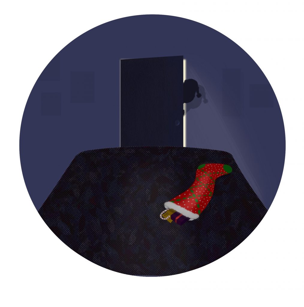Illustration of a stocking on the foot of the bed, and a door slightly ajar with Santa's shadow in it.